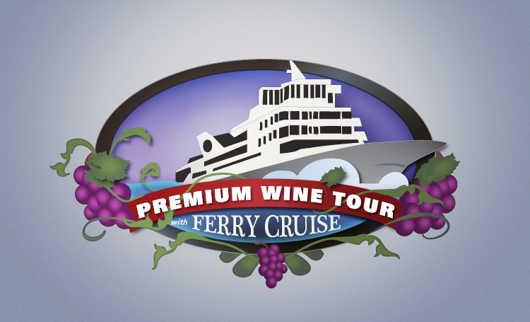Wine Country Tour Shuttle With Ferry Cruise logo design